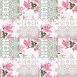 Patchwork seamless white lace retro pink roses pattern — Stock Photo #44223655