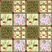 Patchwork seamless pattern with elements of flowers, circles and — Stock Photo