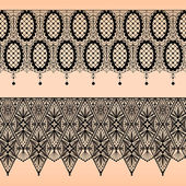 Abstract seamless fabric black lace pattern on beige — Stock Vector
