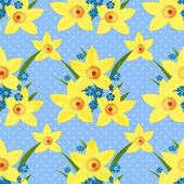 Floral seamless pattern with narcissus texture on dotted — Photo