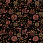 Seamless flowers of roses pattern on black — Stock Photo