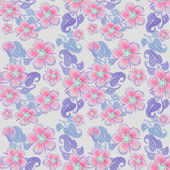 Seamless pink flowers pattern on grey dotted — Stock Photo