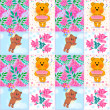 Seamless patchwork kids pattern with teddy bears — Stock Photo #45384131