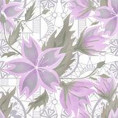 Patrón floral morado transparente en blanco — Foto de Stock
