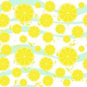 Lemons slices seamless pattern splash on blue white — Stock Vector