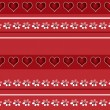 Seamless white floral and hearts pattern on red — Stock Photo #46172151