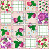 Patchwork seamless pattern berries — Stock Photo