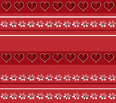 Seamless white floral and hearts pattern on red — Stockfoto
