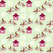 Cute cartoon birds and birdhouse seamless pattern — Stock Photo