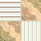 Patchwork seamless lace floral pattern beige — Stock Photo