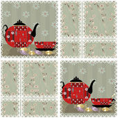 Patchwork seamless pattern with cup and pot — Stock Photo