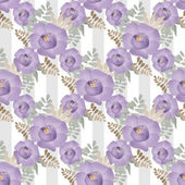 Purple flowers floral seamless pattern on striped background — Stock Photo