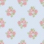Seamless pink flowers pattern on blue polka dot — Stock Photo