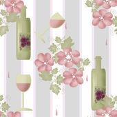 şişe şarap ve gözlük ile sorunsuz çiçek desenli — Stok fotoğraf