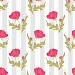 Seamless pink flowers pattern on polka dot striped — Stock Photo