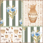 Patchwork seamless pattern with coffe cup, jug and flowers — Stock Photo