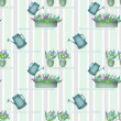 Seamless pattern with watering cans pots and flowers on striped — Stock Photo #49760965