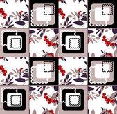 Padrão sem emenda de ornamento floral abstrato com rowanberry — Fotografia Stock