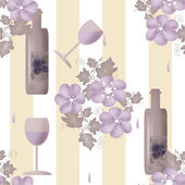 Seamless floral pattern with bottles of wine and glasses on stri — Stockfoto
