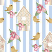 Seamless pattern with birdhouses and birds on striped — Stock Photo