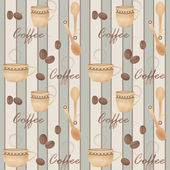 Retro seamless pattern with cup of coffe and spoon on striped — Stock Photo