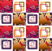 Abstract floral ornament seamless pattern with rowanberry — Stock Photo