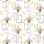 Seamless pattern with flowers in pots and geometric elements on  — Stock Photo