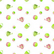 Seamless kids pattern with watering cans and balls on white — Stock Photo #50584925
