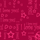 Nahtlose muster tapete valentine mit herzen und text — Stockfoto