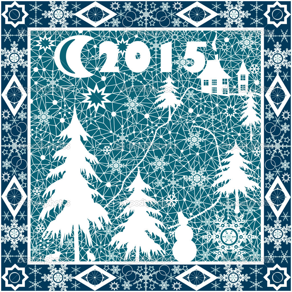 枕头白色花边 2015 年点缀在蓝色背景上–