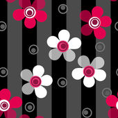 Seamless pink flowers pattern on striped background — Stock Photo