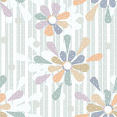 Cartoon cute flowers seamless pattern on striped — Stock Photo