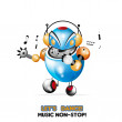 Robot cute dancing music vector — Stock Vector