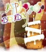 Fondo de la tarjeta de felicitación de torta feliz cumpleaños — Vector de stock