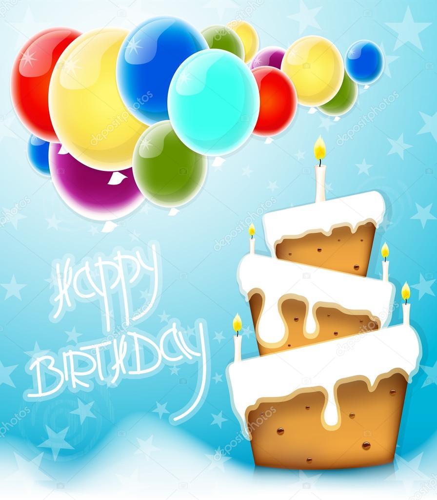 Fundo de cartão feliz aniversário bolo — Vetor de Stock ...