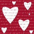 Hearts valentine music red background — Stock Vector