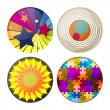 Decor set elements circle abstract colors vector — Stock Vector