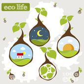 Eco life earth plant — Stock Vector