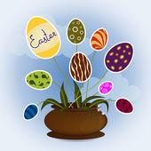 Easter eggs in vase — Vettoriale Stock