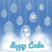 Easter decoration eggs sky clouds — Stockvector