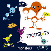 Monsters cute funny aliens characters — Stock Vector