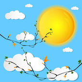 Sunny day blue sky white clouds summer or spring background vector — Stock Vector