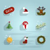 新的一年平图标设置背景 — 图库矢量图片