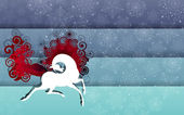 Running horse with snowflakes background raster — Foto Stock