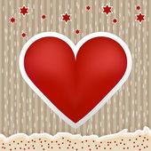 Coração dos namorados lindo papel listrado fundo vintage — Vetor de Stock