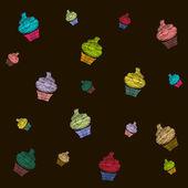 Kleur cupcakes naadloze achtergrond — Stockvector