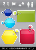 Infographic sjabloon frames decor set met pictogrammen — Stockvector