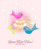 Valentine day happy lovely birds and wedding cake — Stock Vector