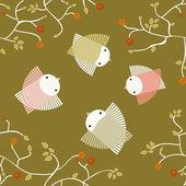 Spring lovely birds flying in the sky — Vecteur