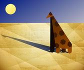 Giraffe camelopard south sun desert sand mascot — Stock Vector